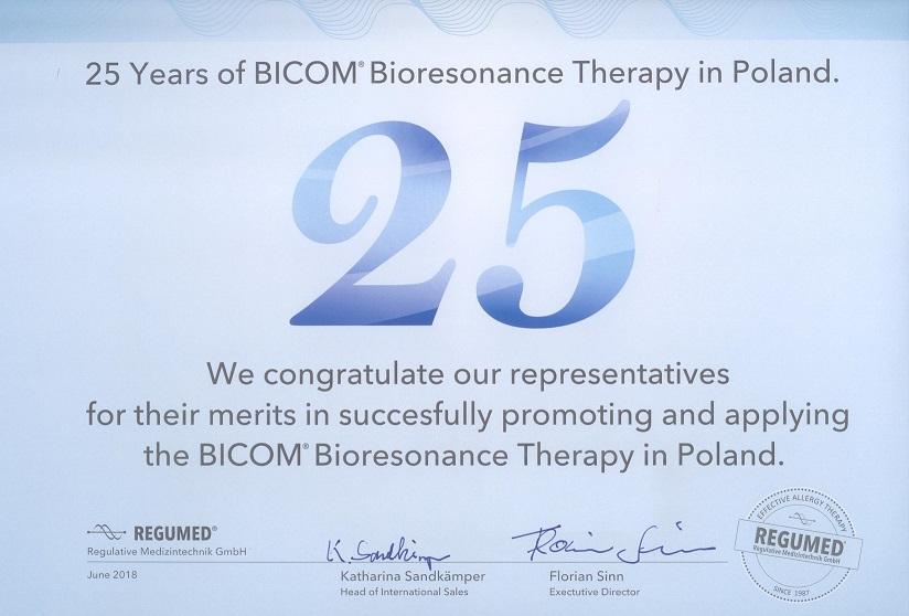 certyfikat 25 lat odRegumedu 1